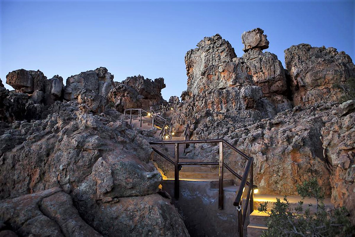 Walkways at the Cederberg Mountain Cave Hotel rock art tourism