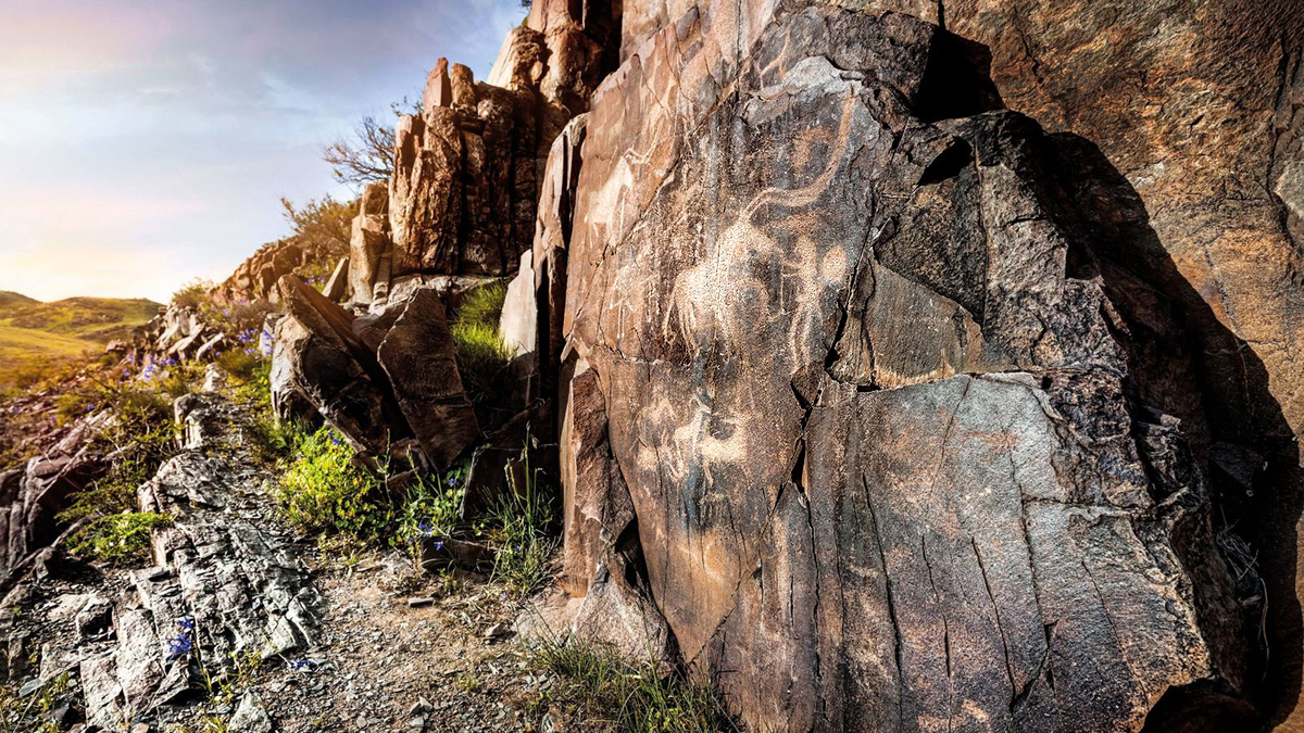 National Geographic Shamans sun gods warriors Bronze Age petroglyphs rock art Kazakhstan's Tamgaly gorge