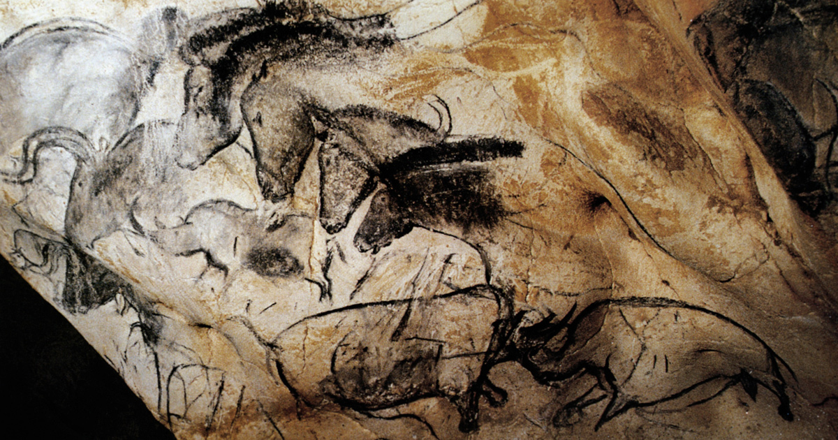 The fighting rhinoceroses Panel of the Horses Chauvet Cave Art Paintings France